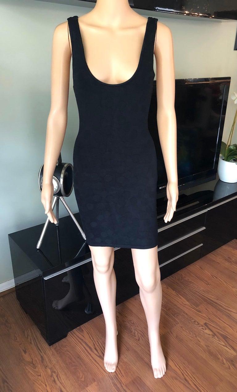 Azzedine Alaia S/S 1991 Vintage Bodycon Open Back Polka Dot Black Mini Dress For Sale 2