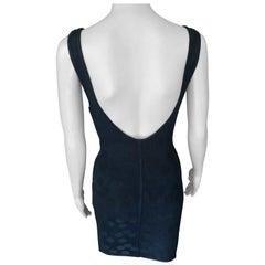 Azzedine Alaia S/S 1991 Vintage Bodycon Open Back Polka Dot Black Mini Dress