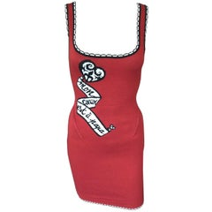 "Azzedine Alaia S/S 1992 ""MON COEUR EST À PAPA"" Red Fitted Dress"