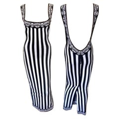 Azzedine Alaia S/S 1992 Runway Vintage Striped Bodycon Backless Maxi Dress