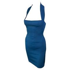 Azzedine Alaia S/S 1992 Vintage Bustier Open Back Bodycon Blue Dress