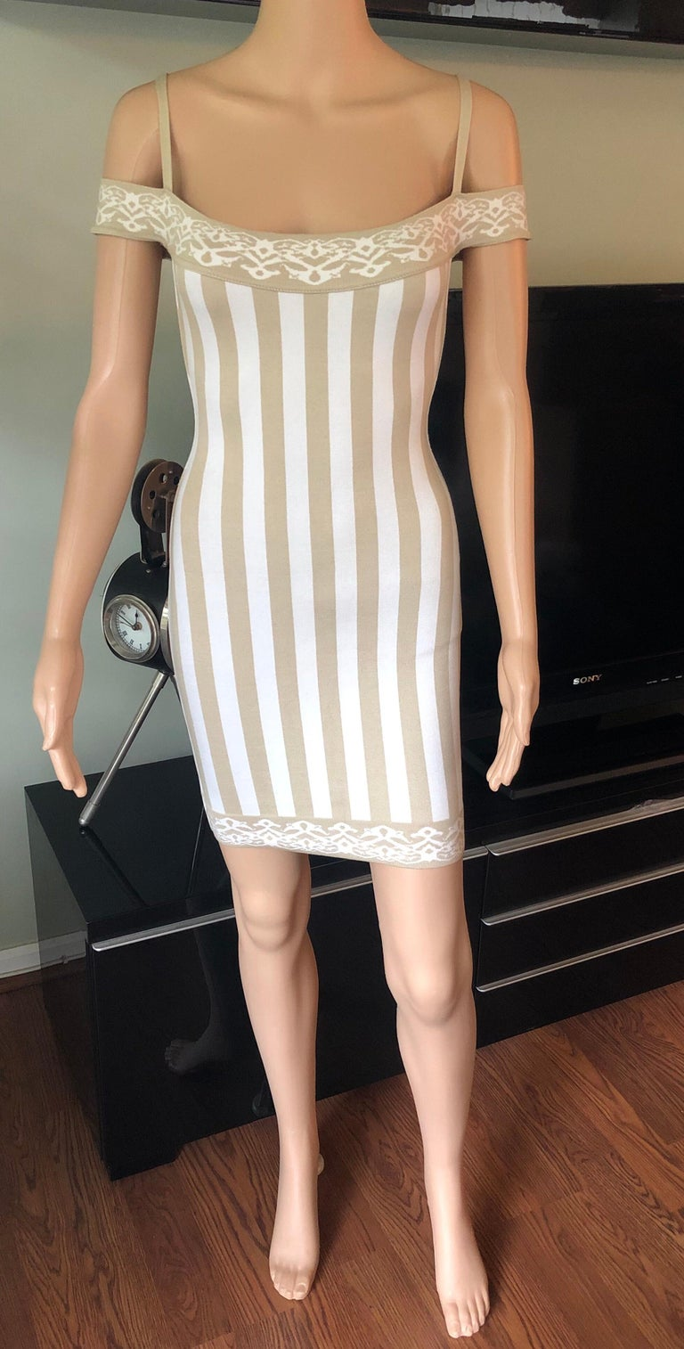 Beige Azzedine Alaia S/S 1992 Vintage Cold-Shoulder Striped Bodycon Mini Dress For Sale