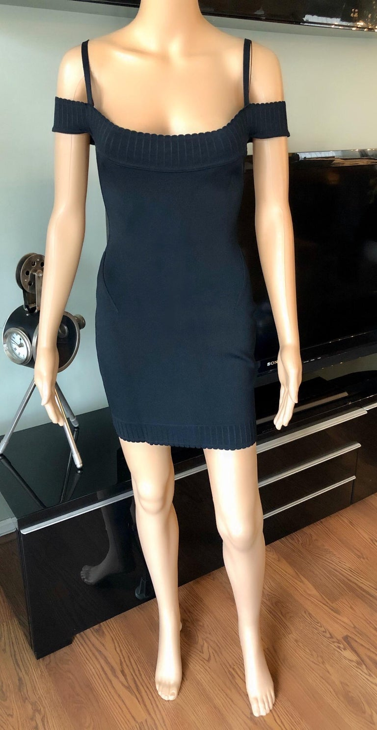 Azzedine Alaia S/S 1992 Vintage Off Shoulder Bodycon Black Dress In Good Condition For Sale In Totowa, NJ