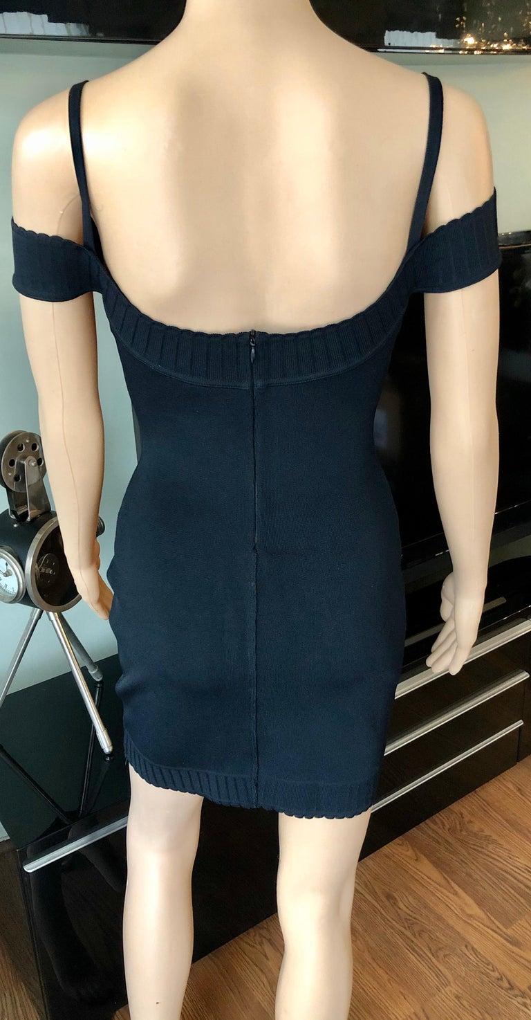 Women's or Men's Azzedine Alaia S/S 1992 Vintage Off Shoulder Bodycon Black Dress For Sale