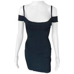 Azzedine Alaia S/S 1992 Vintage Off Shoulder Bodycon Black Dress