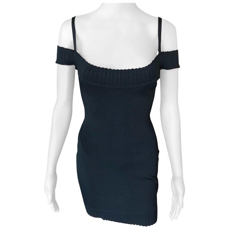 Azzedine Alaia S/S 1992 Vintage Off Shoulder Bodycon Black Dress For Sale