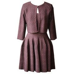 Azzedine Alaïa Stretch-Knit Flare Mini Dress and Cardigan