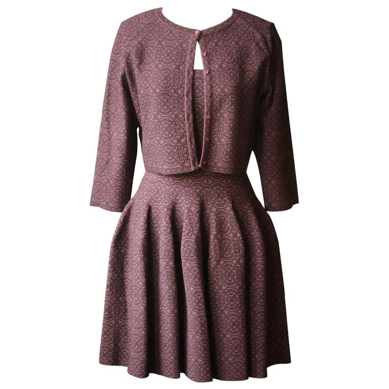 Azzedine Alaïa Stretch-Knit Flare Mini Dress and Cardigan For Sale