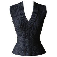Azzedine Alaïa Stretch-Knit Peplum Top