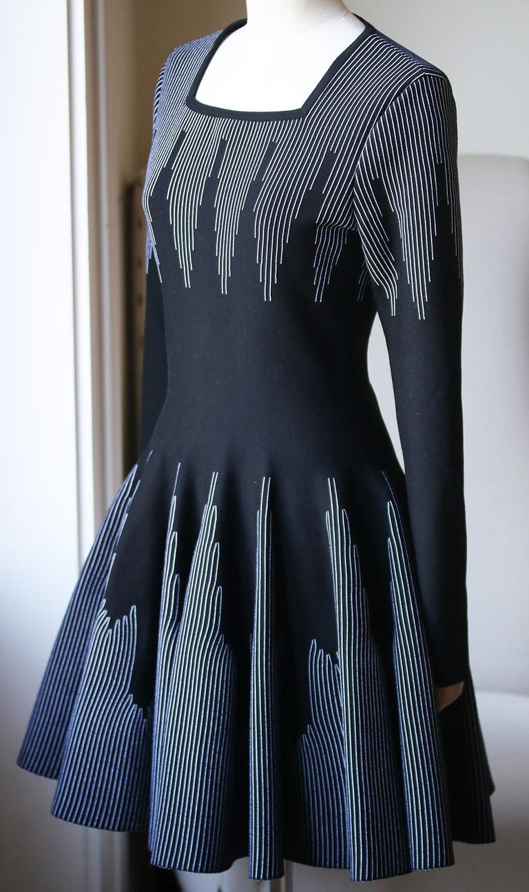 Black Azzedine Alaïa Stretch-Knit Wool Flare Mini Dress For Sale