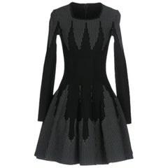 Azzedine Alaïa Stretch-Knit Wool Flare Mini Dress