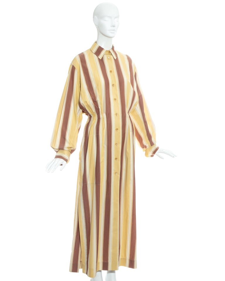 Azzedine Alaia striped cotton maxi shirt dress, ss 1992 For Sale 5