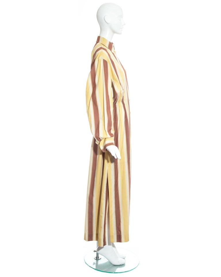 Azzedine Alaia striped cotton maxi shirt dress, ss 1992 For Sale 6