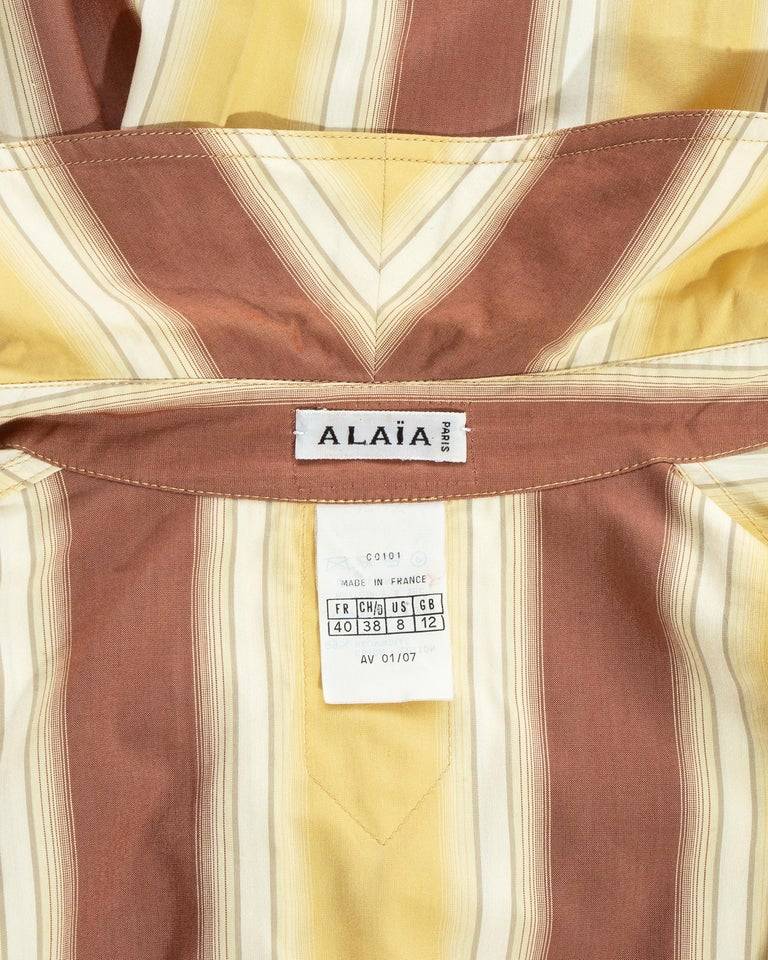 Azzedine Alaia striped cotton maxi shirt dress, ss 1992 For Sale 10