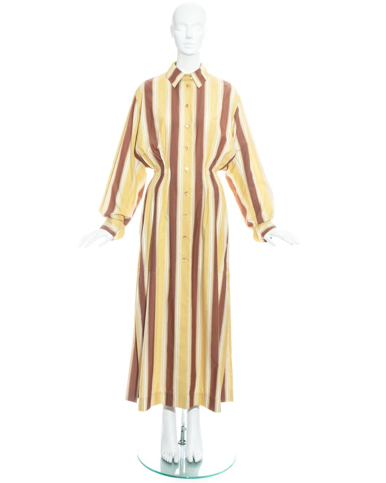 Azzedine Alaia striped cotton maxi shirt dress. Oversized fit with elasticated waistband, turn over cuffs, built in waist stay and 2 side pockets.  Spring-Summer 1992