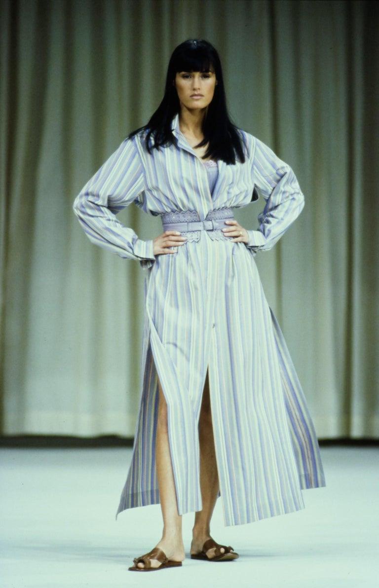 Beige Azzedine Alaia striped cotton maxi shirt dress, ss 1992 For Sale