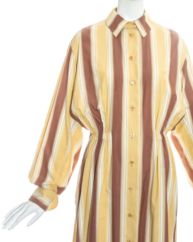 Azzedine Alaia striped cotton maxi shirt dress, ss 1992 In Good Condition For Sale In London, GB