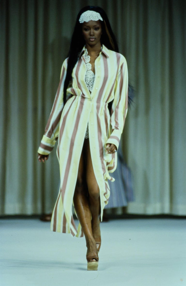 Women's Azzedine Alaia striped cotton maxi shirt dress, ss 1992 For Sale