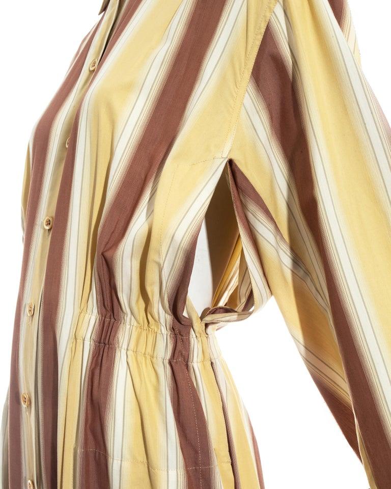 Azzedine Alaia striped cotton maxi shirt dress, ss 1992 For Sale 1