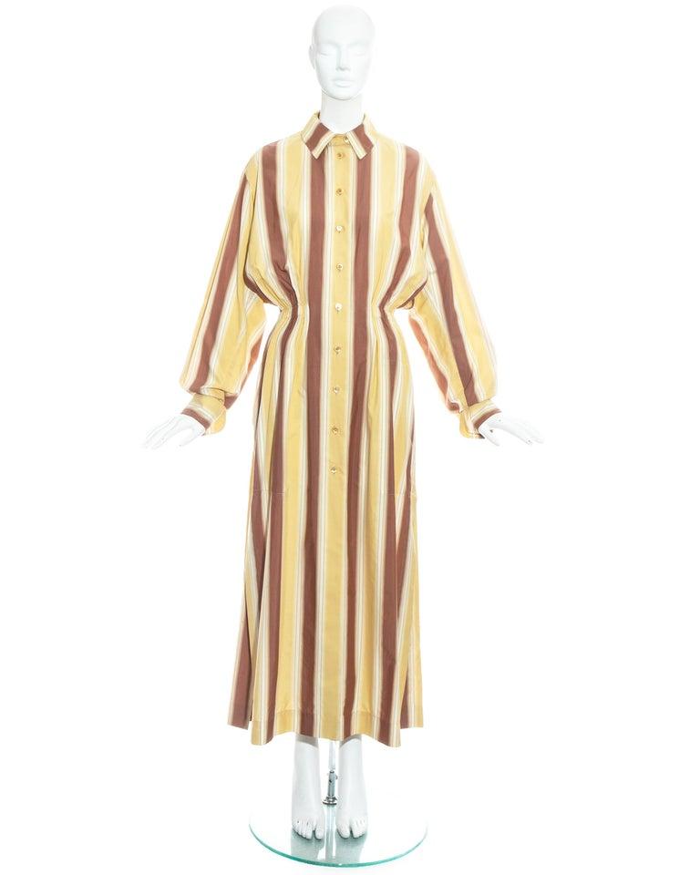 Azzedine Alaia striped cotton maxi shirt dress, ss 1992 For Sale 2