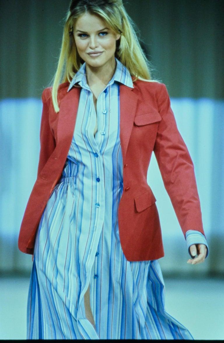 Azzedine Alaia striped cotton maxi shirt dress, ss 1992 For Sale 4