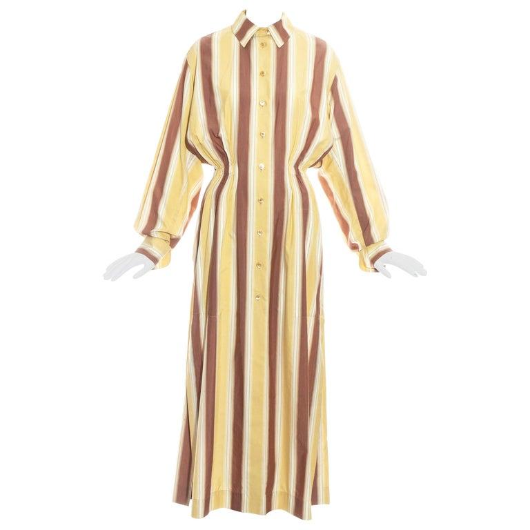 Azzedine Alaia striped cotton maxi shirt dress, ss 1992 For Sale