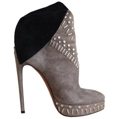Azzedine Alaïa Studded Suede Wing Ankle Boots