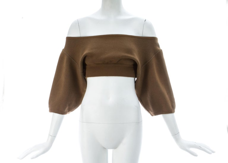 - off the shoulder  - large ribbed waist band   c. 1980s