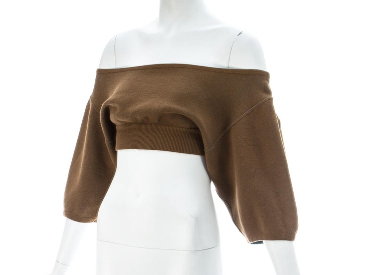 Brown Azzedine Alaia tan knitted cropped off-the-shoulder sweater, c. 1980s For Sale