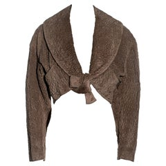 Azzedine Alaia taupe embossed suede cropped bolero jacket, ss 1987