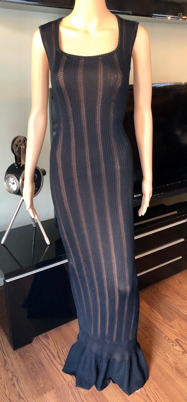 Azzedine Alaia Vintage 1990's Knit Bodycon Black Dress Gown Size M  Alaïa knit semi sheer sleeveless knit maxi dress with nude slip, scoop neck and zip closure at back.