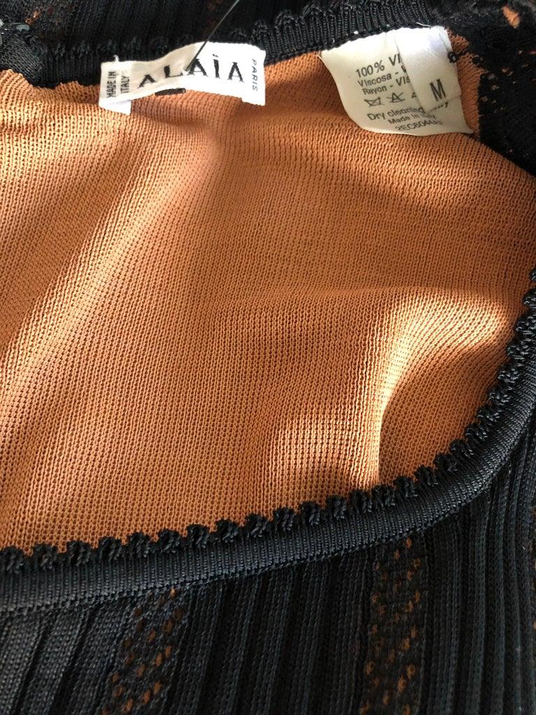 Azzedine Alaia Vintage 1990's Knit Bodycon Black Dress Gown For Sale 1