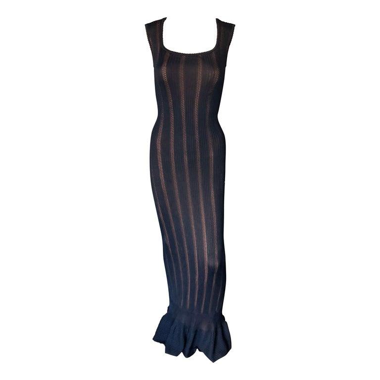 Azzedine Alaia Vintage 1990's Knit Bodycon Black Dress Gown For Sale