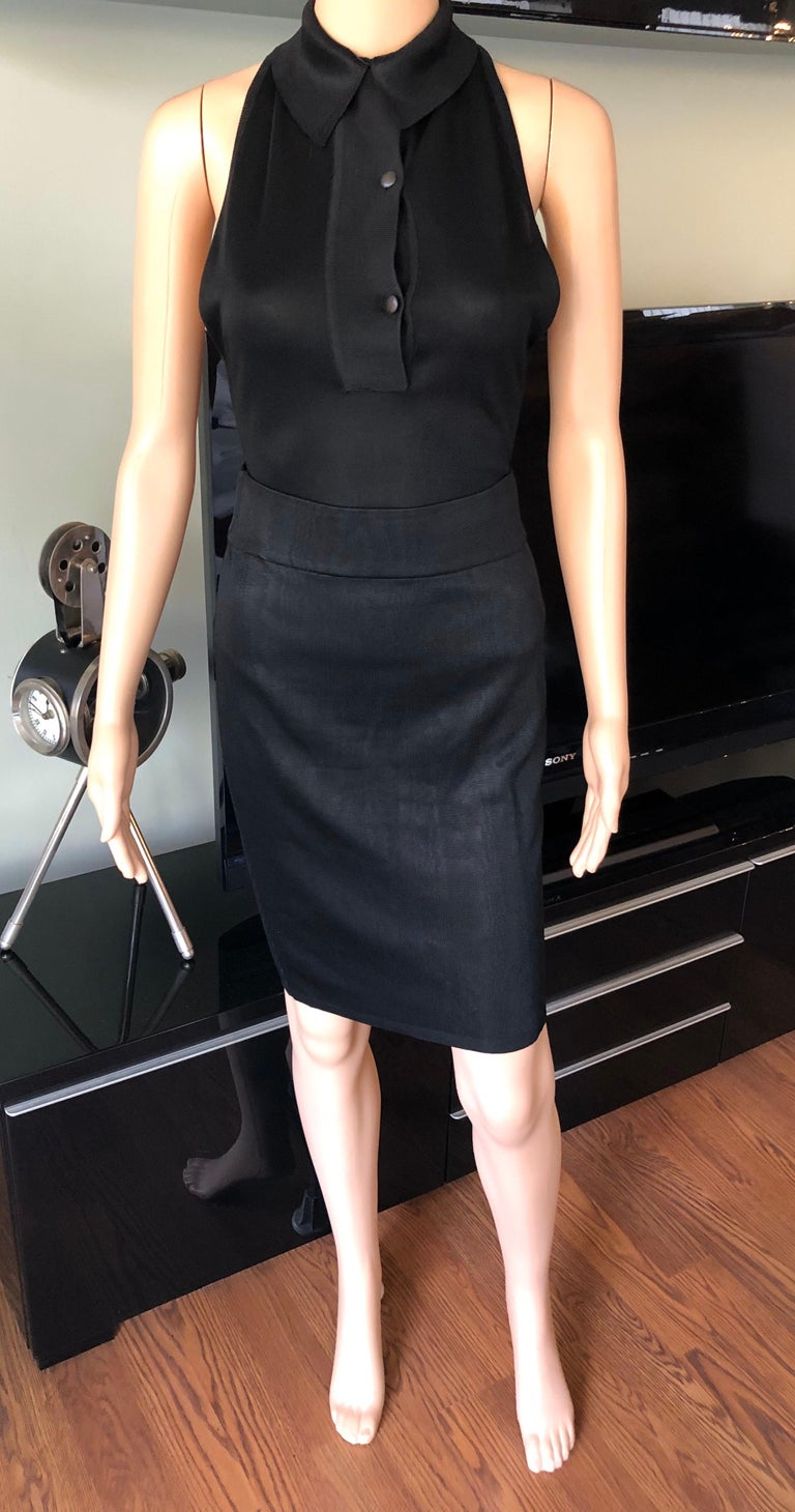 Azzedine Alaia Vintage Black Bodysuit & Skirt 2 Piece Set  Please note the bodysuit is size M and the skirt is size S.