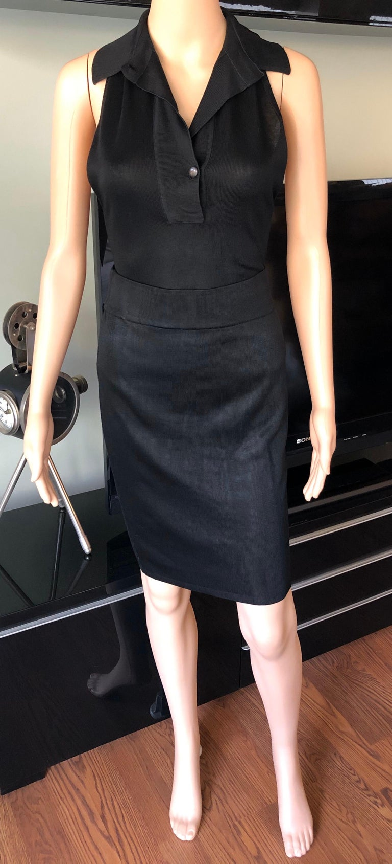 Azzedine Alaia Vintage Black Bodysuit and Skirt 2 Piece Set In Good Condition For Sale In Totowa, NJ
