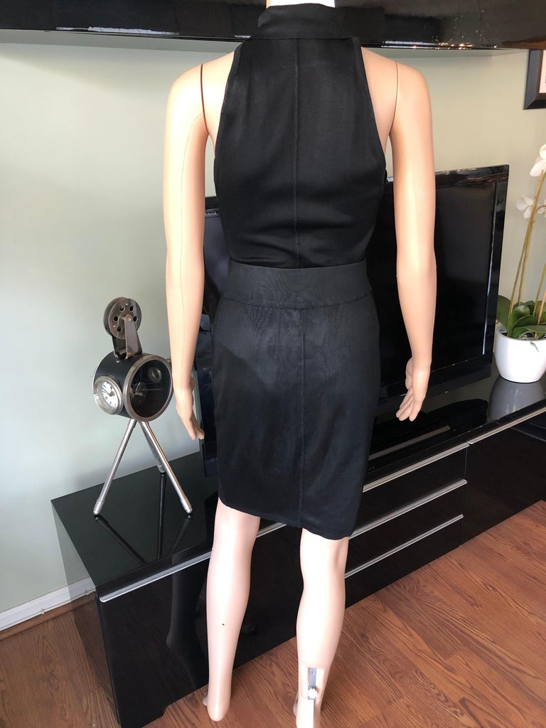 Women's or Men's Azzedine Alaia Vintage Black Bodysuit and Skirt 2 Piece Set For Sale