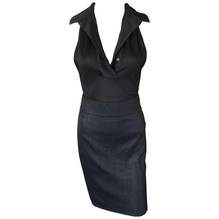 Azzedine Alaia Vintage Black Bodysuit and Skirt 2 Piece Set For Sale