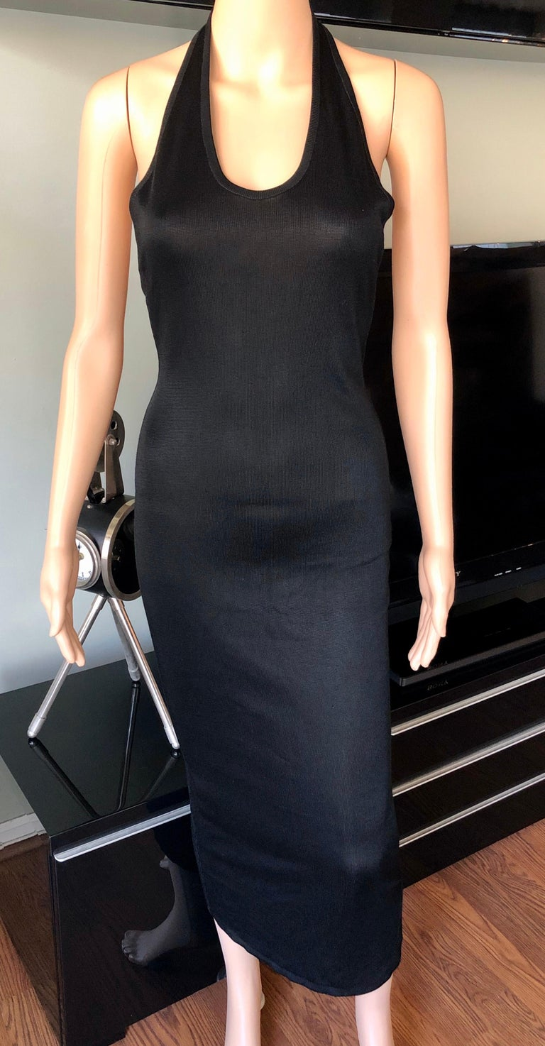 Azzedine Alaia Vintage Bodycon Halter Backless Black Dress In Good Condition In Totowa, NJ