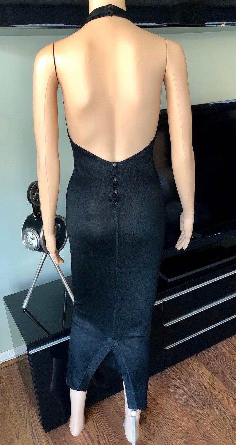 Women's Azzedine Alaia Vintage Bodycon Halter Backless Black Dress