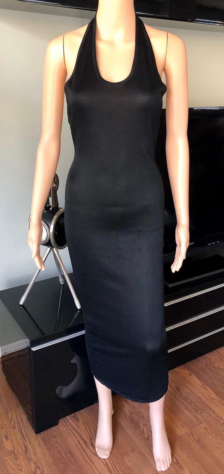 Azzedine Alaia Vintage Bodycon Halter Backless Black Dress 1