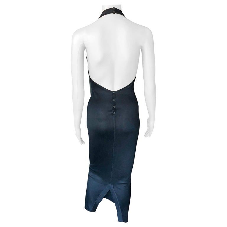 Azzedine Alaia Vintage Bodycon Halter Backless Black Dress