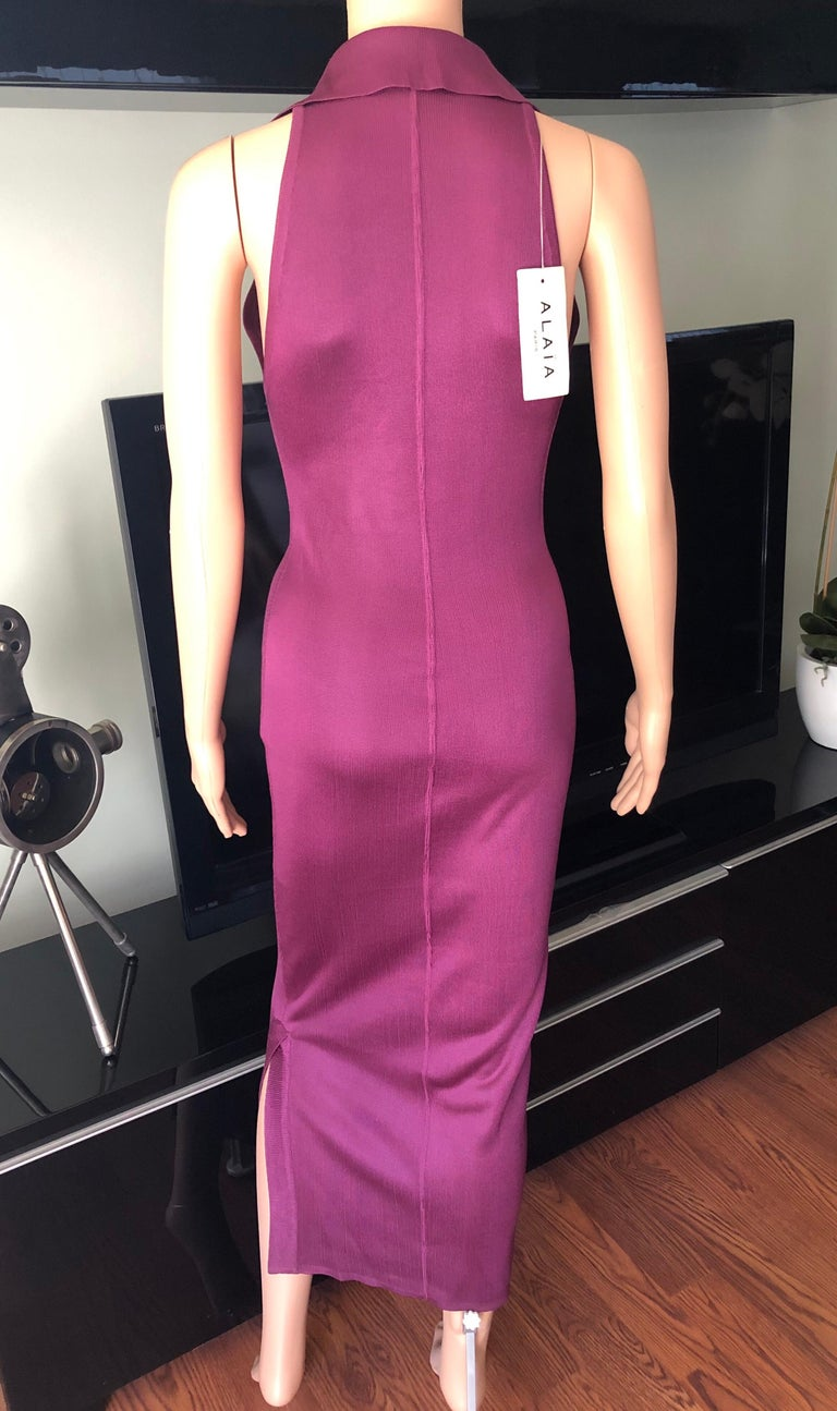 Pink Azzedine Alaia Vintage Bodycon Maxi Dress For Sale