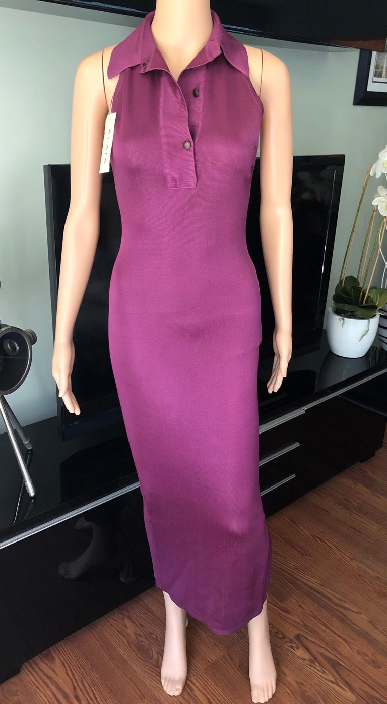 Azzedine Alaia Vintage Bodycon Maxi Dress In Excellent Condition For Sale In Totowa, NJ