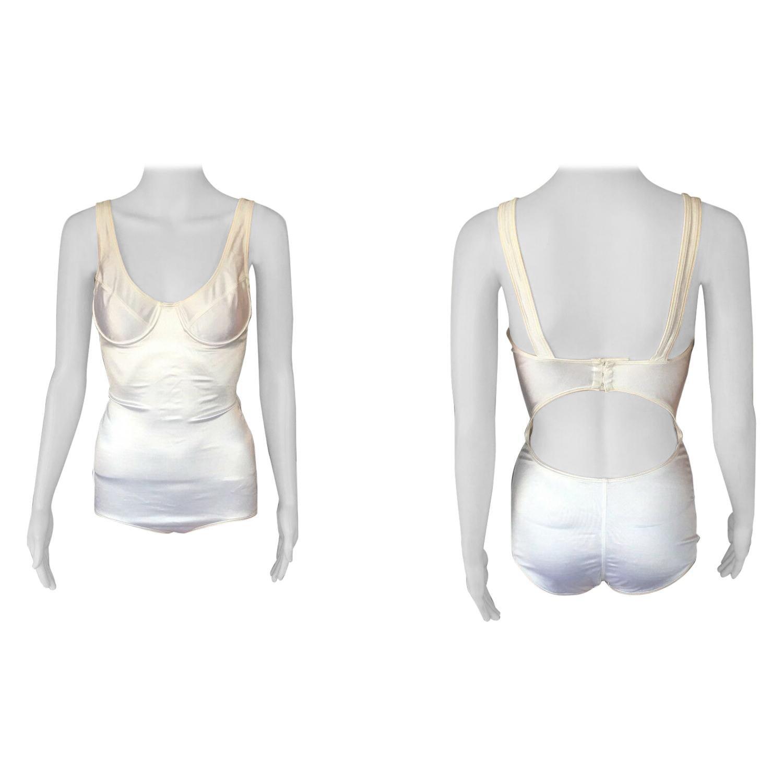 Azzedine Alaia Vintage Bustier Cutout Back Bodysuit Swimsuit
