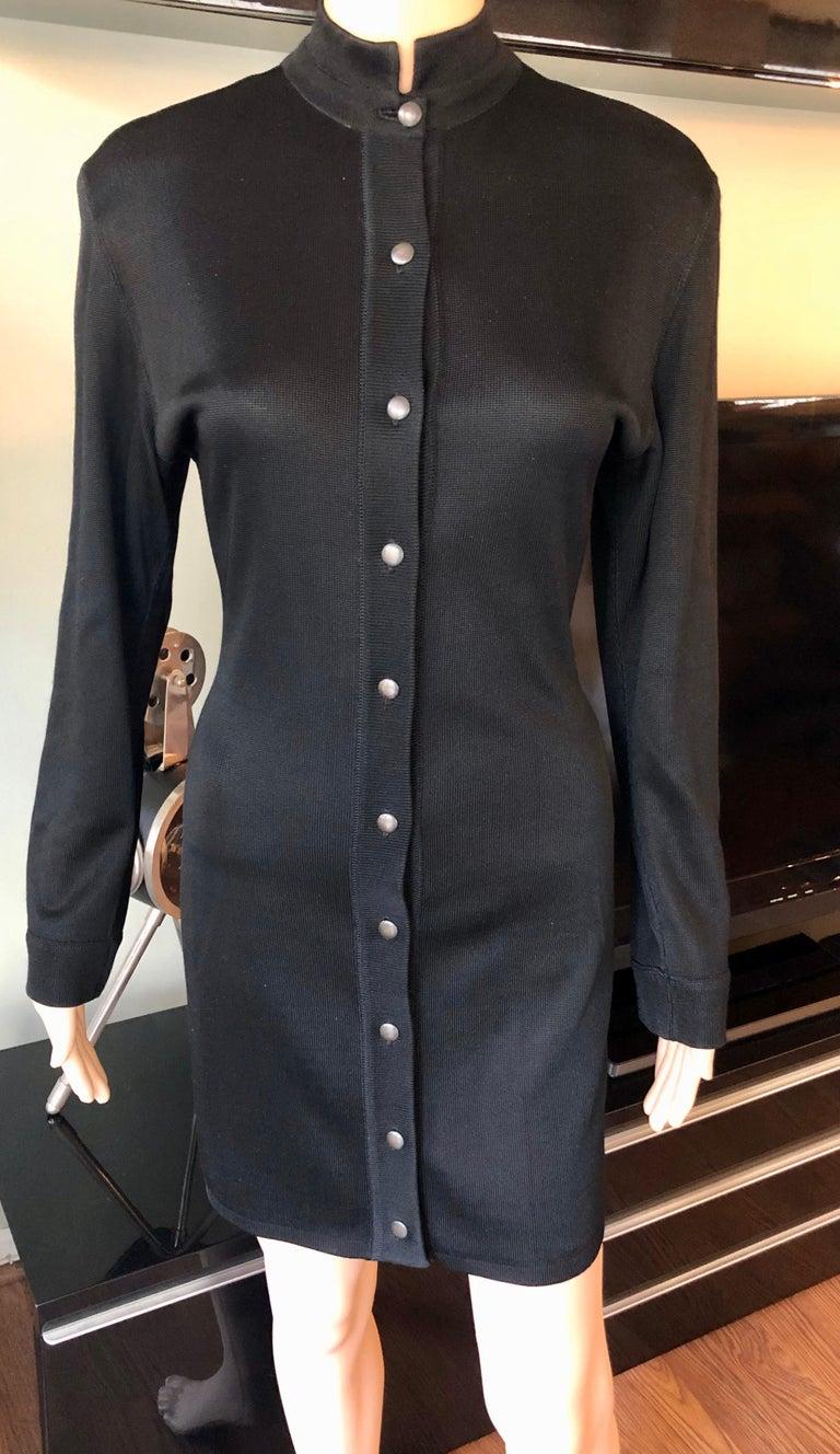 Azzedine Alaia Vintage Buttoned Knit Black Dress Size S  Alaïa black dress featuring mock neck and button closures at front.