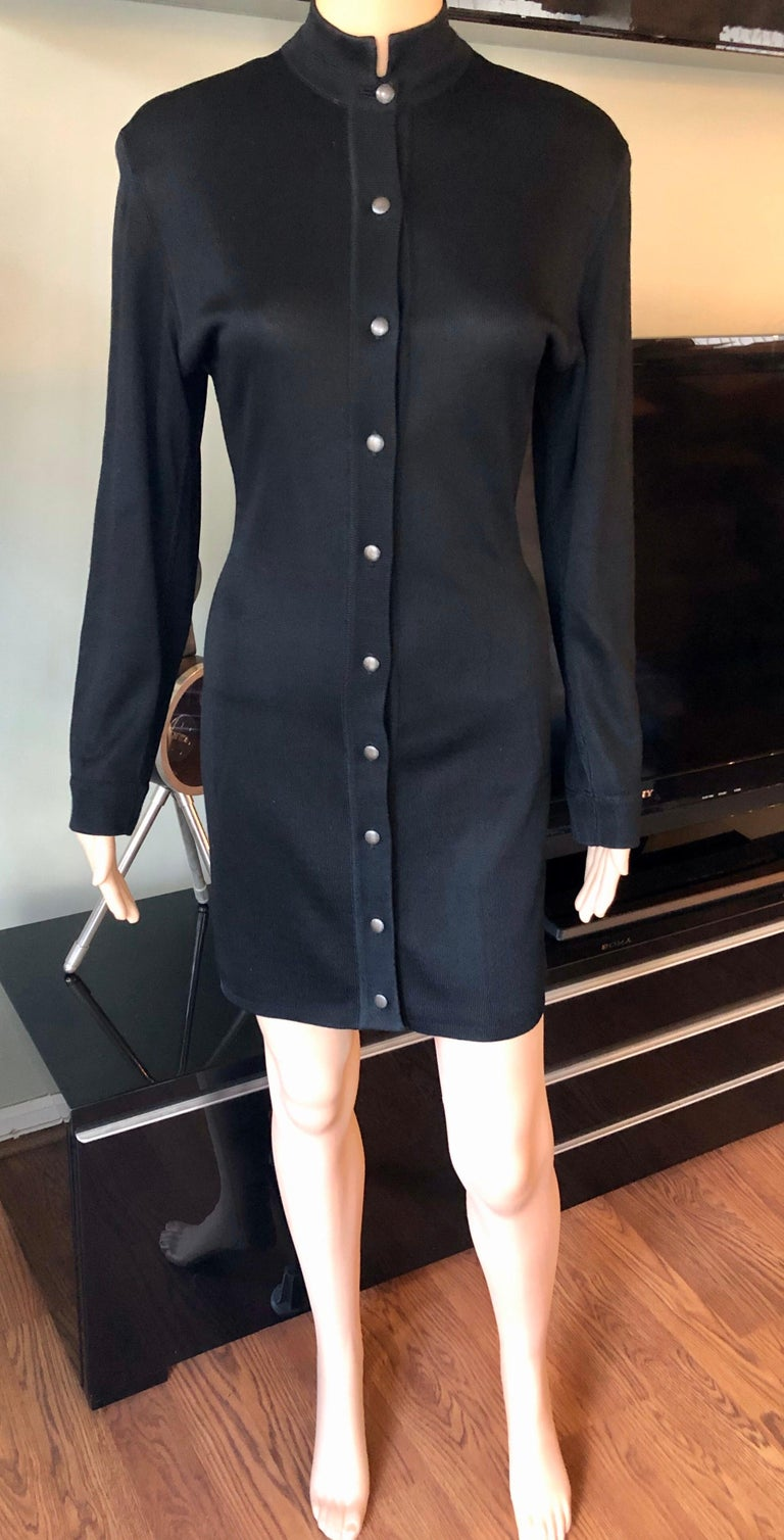 Azzedine Alaia Vintage Buttoned Knit Black Dress In Good Condition In Totowa, NJ