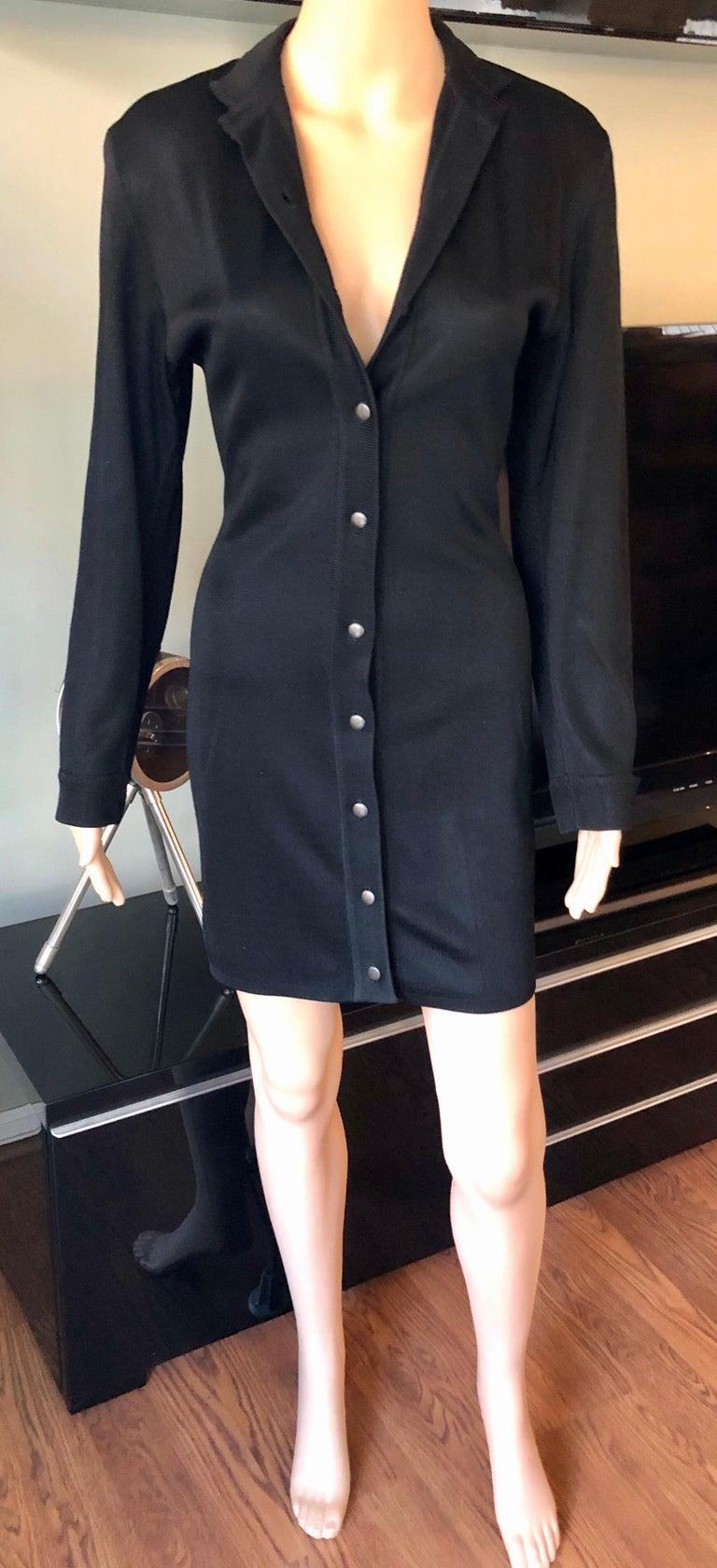 Women's Azzedine Alaia Vintage Buttoned Knit Black Dress