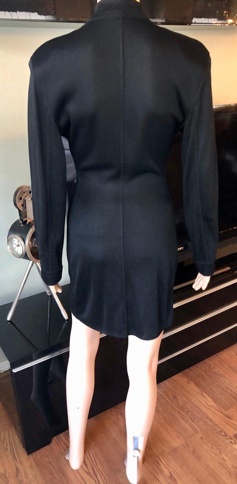 Azzedine Alaia Vintage Buttoned Knit Black Dress 1