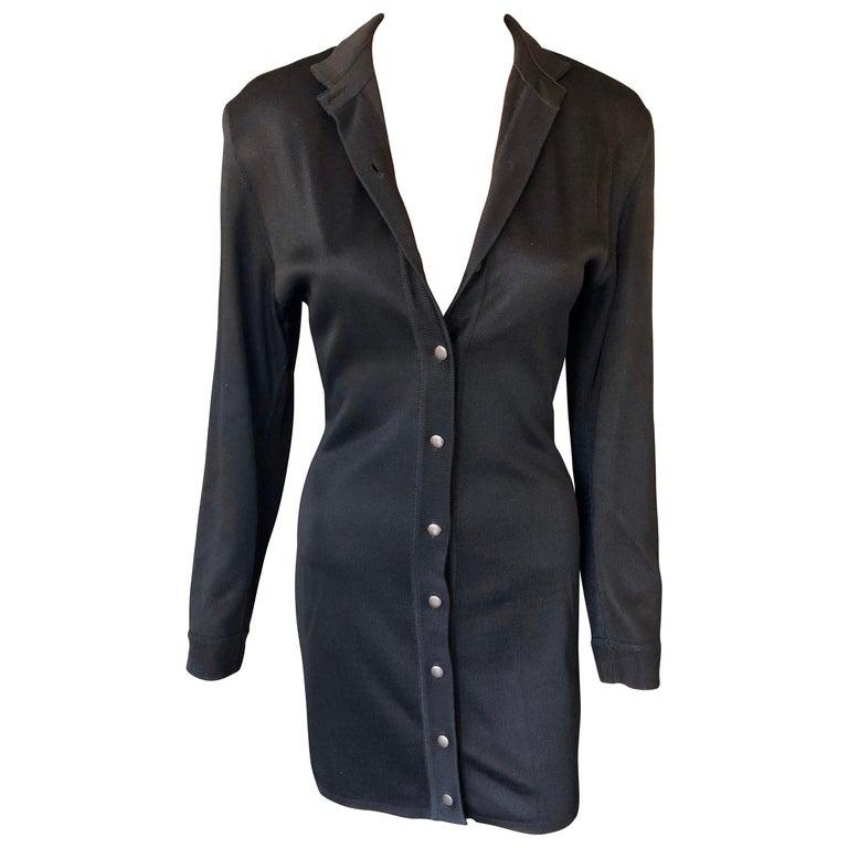 Azzedine Alaia Vintage Buttoned Knit Black Dress