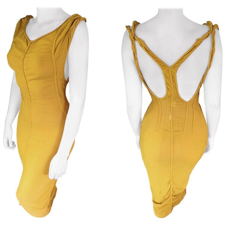 Azzedine Alaia Vintage Cutout Back Bodycon Dress